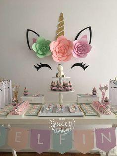 Delfina's Unicorn birthday party | CatchMyParty.com