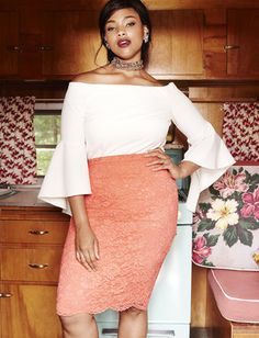 Scalloped Lace Pencil Skirt (ELOQUII)