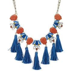 Red Herring Tassel statement necklace (89 MYR) ❤ liked on Polyvore featuring jewelry, necklaces, statement necklaces, blue crystal necklace, blue tassel necklace, orange jewelry and crystal necklace