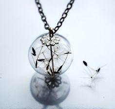 Dandelion Necklace Make A Wish 09 Glass Bead Orb Silver Necklace Botanical  Globe Beadwork.