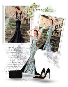 """""""Stunning evening dress"""" by chenzoe ❤ liked on Polyvore featuring moda, Sergio Rossi, Christian Louboutin, women's clothing, women's fashion, women, female, woman, misses e juniors"""