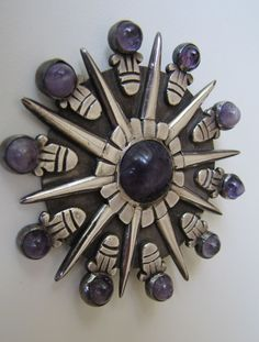 William Spratling Sterling Silver Amethyst Pendant Brooch. Precolumbian Aztec Sunburst Disk. 1940s Taxco Mexican Jewelry Mexico