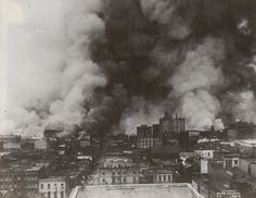View from Nob Hill of San Francisco burning after the Great Earthquake of April 18th, 1906.
