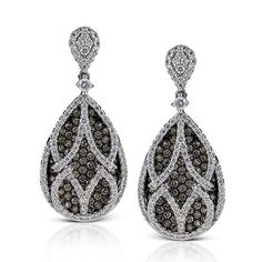Midnight Collection - These fabulous 18K white and black gold earrings are comprised of .46ctw round white Diamonds and 1.31ctw round brown Diamonds.  - ME1703