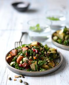 Hearty Winter Salad with Honey Roasted Roots, Kale & Pomegranate - A tasty love story
