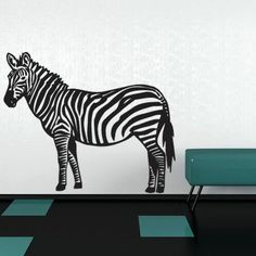 "Style and Apply Zebra Wall Decal Size: 25"" H x 31"" W, Color: Royal Blue"