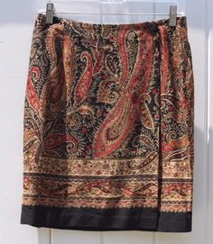 Coldwater Creek Multi-Color Paisley Knee Length Career Wrap Skirt - Size 8…