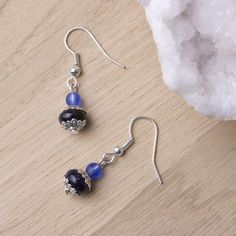 http://etsy.me/2l5H7gW - Blue goldstone Earrings   Gemstone earrings with blue beads and Tibetan silver   Blue goldstone jewellery   Blue goldstone jewelry by inspira on Etsy -