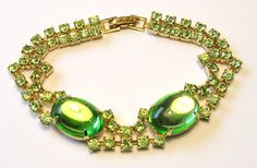 Vintage 1950s Bracelet  Gold with Green Lucite by SwankyJewels, €20.00