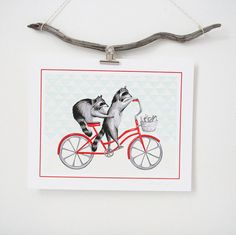 Raccoons on bike print cycling raccoons biking by AmelieLegault