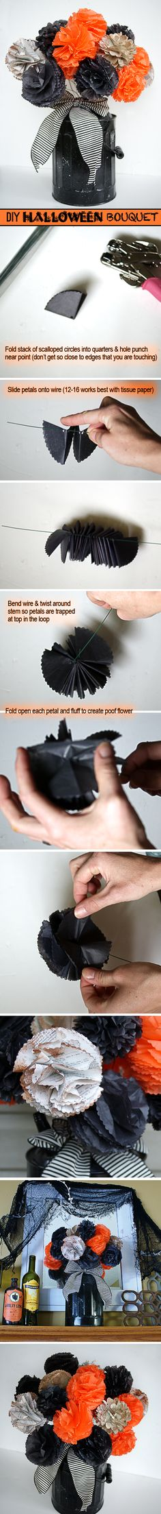 How to Make a Halloween Bouquet Tissue Paper Flowers Tutorial @savedbyloves #Sizzix