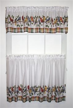 Songbirds Curtain Sets, what a bargain ! One valance + pair of tiers in choice of 30 or 36 inch lengths. Ideal for Bathroom or kitchen curtains Bathroom Window Treatments, Valance Window Treatments, Tall Windows, Arched Windows, Bay Window, Window Curtains, Window Toppers, Printed Curtains, Discount Curtains