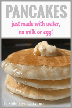 Vegan Milk-Free Egg-Free Christmas Pancakes That Just Take Water! Perfect for feeding a crowd. Vegan Milk-Free Egg-Free Christmas Pancakes That Just Take Water! Perfect for feeding a crowd. Pancakes Végétaliens, Dairy Free Pancakes, Dairy Free Eggs, Tasty Pancakes, Pumpkin Pancakes, Pancakes With No Milk, Egg Substitute For Pancakes, Pancakes With No Eggs, Recipes