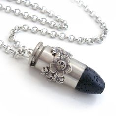 Bullet Pendant Necklace Upcycled  Jewellery Cowgirl Jewelry - Black Lava Rock. $38.00, via Etsy.
