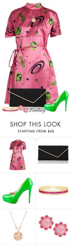 """Miu Miu Planet-print duchess-silk dress"" by lindsayd78 ❤ liked on Polyvore featuring Miu Miu, L.K.Bennett, Brian Atwood, Effy Jewelry, Gucci, Kate Spade, fashionset and womensFashion"