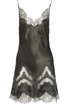 Carine Gilson|Maria lace-trimmed silk-satin chemise|NET-A-PORTER.COM