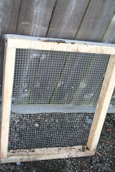 """make a soil sifter - a roll of ½ inch wire mesh and a 2""""X4""""X8' piece of lumber"""