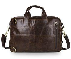 Versatile Handmade Brown Leather Briefcase Backpack Messenger Bag