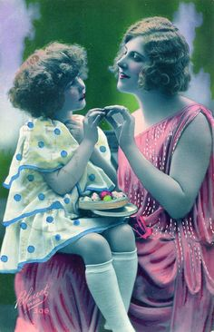 Original French vintage hand tinted real photo postcard - Flapper art deco lady with girl on lap - Victorian Paper Ephemera