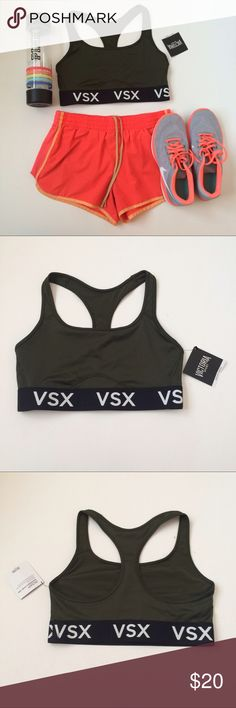 🆕(M) VS Green Sports Bra NWT Victoria's Secret The Player Racerback Sports Bra, size medium in Forest Green.  Provides medium support for sports and activities, lightweight and breathable material so you won't feel trapped.  VSX logo around black band at bottom; color is a deep green that is very strong and empowering. Bundle and save! Victoria's Secret Intimates & Sleepwear Bras