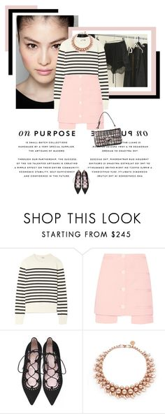 """""""Pink and Stripes"""" by veronicamastalli ❤ liked on Polyvore featuring Yves Saint Laurent, Opening Ceremony and Ellen Conde"""