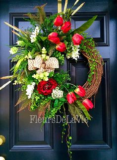 A personal favorite from my Etsy shop https://www.etsy.com/listing/223947903/spring-door-wreath-floral-door-wreath
