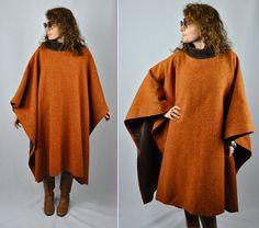Alberta FERRETTI Wool PONCHO Oversized Cape Poncho Turtleneck Italian High End Designer one size fits most