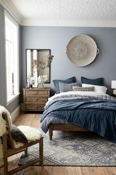 Trendy colors: fabulous bedroom design in gray-blue – - bedroom furniture ideas Trendy Bedroom, Cozy Bedroom, Bedroom Sets, Home Decor Bedroom, Modern Bedroom, Bedroom Vintage, Mirror Bedroom, Bedroom Small, Bedroom Romantic