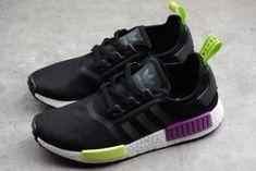 64a7043f6bf3b adidas Originals NMD R1 Shoes Black Purple Volt White-1 Adidas Nmd R1