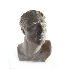 Antique Man Bust, Chalkware Plaster Cast Head Statue, T. Petrini, Italian Sculptor, Sculpture of Roman