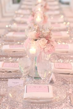 Glamorous sparkly light pink wedding reception with perfect pink rose centerpieces pink wedding Light Pink Sparkly Wedding Reception Pink Wedding Receptions, Pink Wedding Theme, Pink Wedding Dresses, Blush Pink Weddings, Mod Wedding, Reception Decorations, Wedding Themes, Wedding Table, Wedding Colors