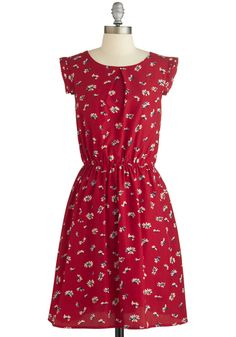 A Dance, by Chance? Dress - Red, Floral, Casual, A-line, Scoop, Tan / Cream, Cap Sleeves, Summer, Woven, Mid-length, Top Rated