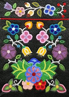 Last picture before the finished piece!!! Finished the beadwork for the purse project. My adaptation of a Bandolier Bag, blending old school ojibwe traditional beadwork with contemporary ideas for a piece of wearable art. A purse that can be  worn and used in everyday life. Now to put the purse together. Beads used in this project are antique/vintage venetian and french seed beads- 11/0, 12/0, and 13/0's. Fabric used is a type of faux leather fabric, color black. Designed and Beaded by…