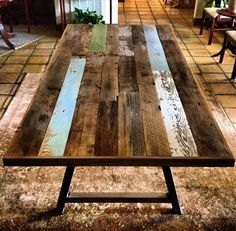 DIY Pallet Wood Dining Table with Steel Legs | 101 Pallets