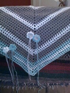 Road Trip scarf I crocheted in gray, white/silver, and light green. I gave this to Jennifer.
