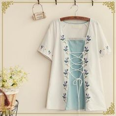 Buy 'Fairyland – Short-Sleeve Embroidered Lace-Up Top' with Free International Shipping at YesStyle.com. Browse and shop for thousands of Asian fashion items from China and more!