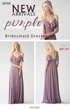 a4dbc4c14cf Women s Off The Shoulder Chiffon Bridesmaid Dress. LaceShe