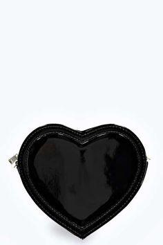 Tasha Patent Heart Shaped Cross Body Bag at boohoo.com