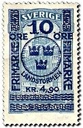 "Sweden 10ö+4kr90ö ""Landstormen"" on 5kr ""posthuset"" 1916. Paul Wicke sc."