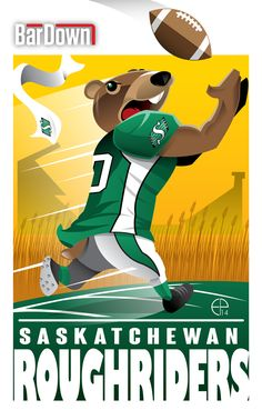 (Eric Poole) is at it again, this time with the CFL. Here is his rendition for the Saskatchewan Roughriders. Canadian Football League, American Football League, Best Football Team, College Football, Football Stuff, Football Images, Football Cards, Go Rider, Nhl