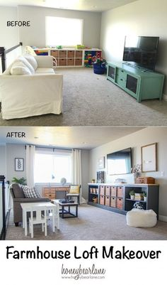 Farmhouse Loft Makeover Home Loft Spaces Loft Playroom Room Makeover, Home Living Room, Kid Friendly Living Room, Family Room, Home, Loft Playroom, Loft Room, Loft Spaces, Home And Living