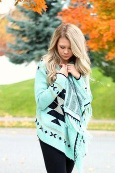 Mint Tribal Print Cardigan Sweater