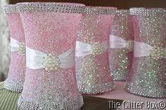 "Glittered Wedding Centerpiece 8"" Vase Iced Pink Special Occassion Decor | eBay"