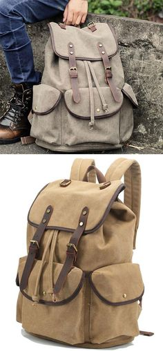 fe897e6834ad Retro Thick Canvas Large Travel College Backpack Leather Strap Rucksack