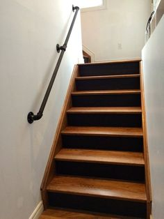 Wood Treads And Risers New Photos Diy Stair Railing Ideas Lovely Gas Pipe Railing Walnut Stairs Black Pipe Railing, Stair Railing Design, Stair Handrail, Banisters, Handrail Ideas, Black Stair Railing, Railings For Stairs, Bannister Ideas, Indoor Railing