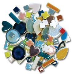 Assorted Ceramic Deco Tiles - 1 lb - A Fun Mix of Shapes Get a fantastic mixture of colors and sizes with the Deco Tile Assortment. Mosaic Tile Table, Ceramic Mosaic Tile, Mosaic Diy, Stone Mosaic, Mosaic Glass, Stained Glass, Glass Tiles, Fused Glass, Glass Art
