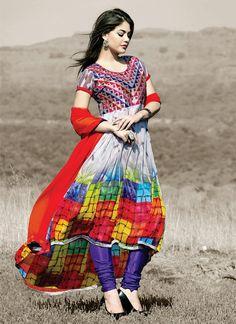 Multicolored Georgette Asymmetrical Anarkali