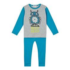 bluezoo Boy's grey robot pyjama set- at Debenhams.com