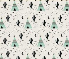 Spoonflower's Teepee Mint fabric designed by Kimsa - printed on a variety of cotton fabrics - 1 yard