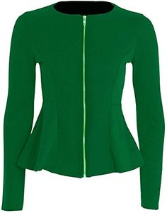 New Women Ladies Plain Full Sleeve Zip Peplum Frill Tailored Blazer Jacket Tops UK Size 8-24 (2XL/3XL 24-26, JADE GREEN) My Fashion Store http://www.amazon.co.uk/dp/B00ULEC6MK/ref=cm_sw_r_pi_dp_qlIBwb03FX8W3